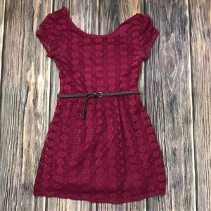 Love Reign Burgundy Lace Belted Dress, M